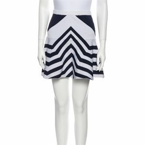 Parker flare mini skirt blue and white stripe med
